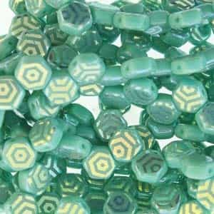 Czech 2-Hole 6mm Honeycomb Beads - HC-63130-28703WB - Turquoise Green Laser Web AB - 25 Count