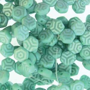 Czech 2-Hole 6mm Honeycomb Beads - HC-63130-28773WB - Matte Turquoise Green Laser Web AB - 25 Count