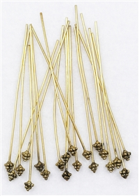 HPGF2INT21G - Head Pins - 2 inches - 4x4x4mm Triangle drop - 21 Gauge - 10 Pieces