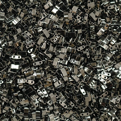 5 Grams HTL-55036 Black Full Chrome Miyuki Half Tila Beads