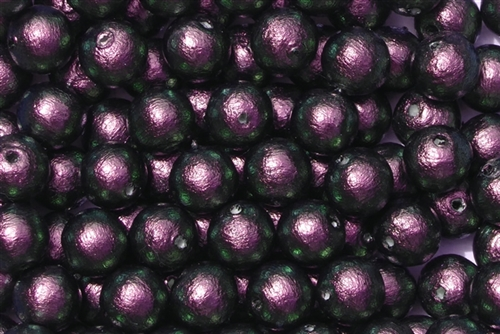 J674-08 - 8mm Rich Green-Black/Purple Cotton Pearl Bead - 1 Pearl
