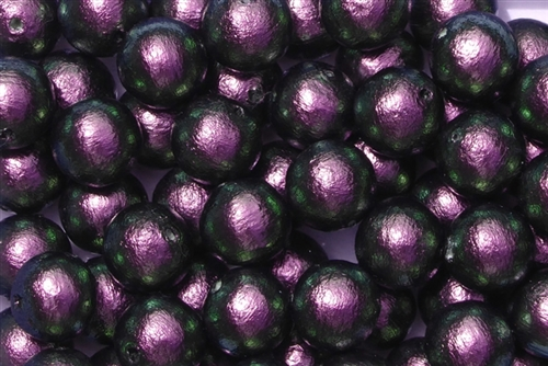 J674-10 - 10mm Rich Green-Black/Purple Cotton Pearl Bead - 1 Pearl