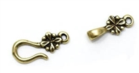 JBB Findings Hook-and-Eye, Antiqued Brass, 24.5x8mm double-sided Flower Clasp