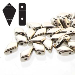 Czech Kite Beads : 9x5mm - KT95-NI - Nickel Plated - 25 Count