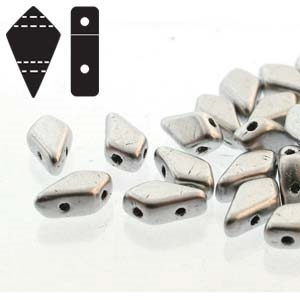 Czech Kite Beads : 9x5mm - KT9500030-01700 - Matte Aluminum - 25 Count