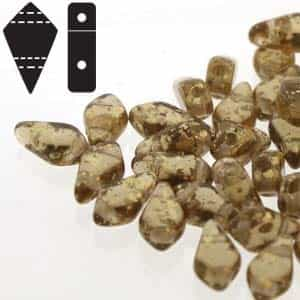 Czech Kite Beads : 9x5mm - KT95-10230-94401 - Gold Splash Smoke Topaz - 25 Count