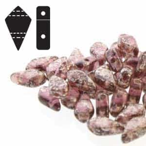Czech Kite Beads : 9x5mm - KT95-20060-15481 - Silver Splash  Amethyst - 25 Count