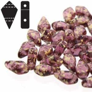 Czech Kite Beads : 9x5mm - KT95-20060-94401 - Gold Splash Amethyst - 25 Count