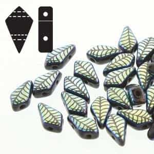Czech Kite Beads : 9x5mm - KT9523980-28703LA - Jet Laser Leaf - 25 Count