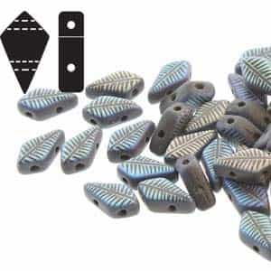 Czech Kite Beads : 9x5mm - KT9523980-28773F - Matte Jet Laser Feather - 25 Count