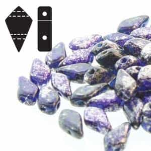 Czech Kite Beads : 9x5mm - KT95-30090-15481 - Silver Splash Cobalt - 25 Count