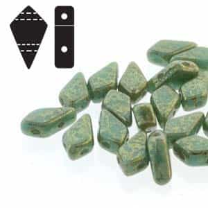 Czech Kite Beads : 9x5mm - KT9563120-15495 - Turquoise Green Lumi - 25 Count