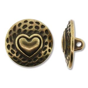Antique BrassFull Metal 17mm Heart Button - 1 Piece