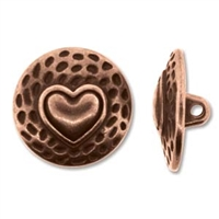 Antique Copper Full Metal 17mm Heart Button - 1 Piece