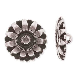 Antique Silver Full Metal 17mm Flower Button - 1 Piece