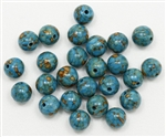 MT822 - 8mm Round Mosaic Blue Turquoise Beads - 10 Count