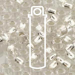 MTB07-00030-81800 - Matubo 7/0 Crystal Silver Lined - Approx 7.5 Gram Tube