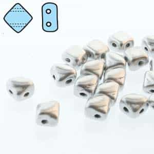 "Czech Silky 2-Hole Beads ""Mini"" 5x5mm - MiniCZS-00030-01700 - Bronze Aluminum - 40 Bead Strand"