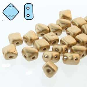 "Czech Silky 2-Hole Beads ""Mini"" 5x5mm - MiniCZS-00030-01710 - Bronze Pale Gold - 40 Bead Strand"