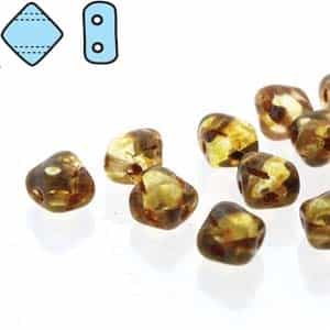 "Czech Silky 2-Hole Beads ""Mini"" 5x5mm - MiniCZS-00030-86800 - Crystal Travertin - 40 Bead Strand"