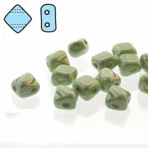 "Czech Silky 2-Hole Beads ""Mini"" 5x5mm - MiniCZS-02010-14457 - Light Green Luster - 40 Bead Strand"