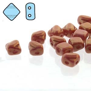 "Czech Silky 2-Hole Beads ""Mini"" 5x5mm - MiniCZS-02010-14495 - Chalk Red Luster - 40 Bead Strand"