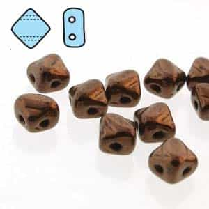 "Czech Silky 2-Hole Beads ""Mini"" 5x5mm - MiniCZS-23980-14415 - Jet Dark Bronze - 40 Bead Strand"