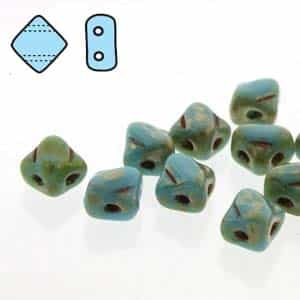 "Czech Silky 2-Hole Beads ""Mini"" 5x5mm - MiniCZS-63030-43400 - Blue Turquoise Picasso - 40 Bead Strand"