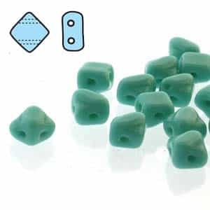 "Czech Silky 2-Hole Beads ""Mini"" 5x5mm - MiniCZS-63130 - Green Turquoise - 40 Bead Strand"