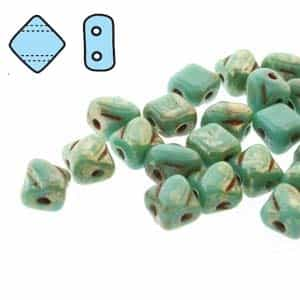 "Czech Silky 2-Hole Beads ""Mini"" 5x5mm - MiniCZS-63130-43400 - Green Turquoise Picasso - 40 Bead Strand"