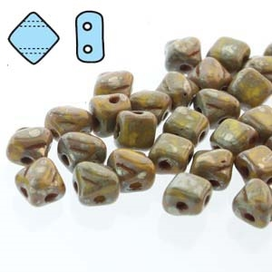 "Czech Silky 2-Hole Beads ""Mini"" 5x5mm - MiniCZS-83120-43400 - Lemon Picasso - 40 Bead Strand"