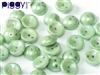 PB-03000-14459 - Czech Piggy Beads 4x8mm - Chalk White Teal Luster - 25 Beads