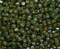 Preciosa Pellet Beads 4x6mm - PE60020-86800 - Aqua Travertin - 25 Beads