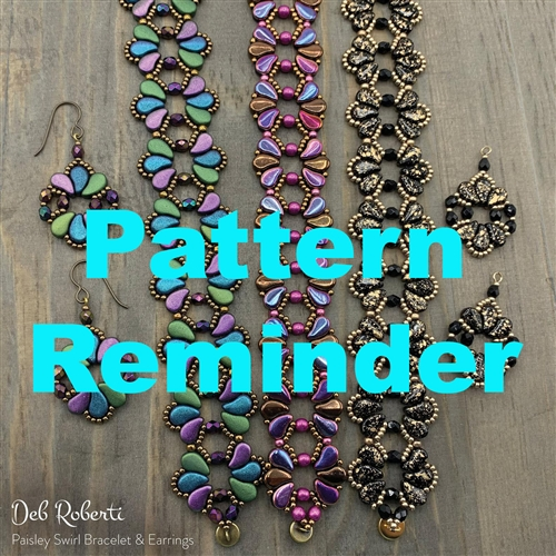 Deb Roberti's Paisley Swirl Bracelet & Earrings Pattern Reminder