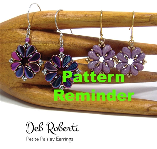 Deb Roberti's Petite Paisley Earrings Pattern Reminder
