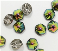 12mm Pyramid Hex Two Hole Beads - PYH12-00030-28101 - Crystal Vitrail - 1 Bead
