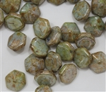 Pyramid Hex Two Hole Beads - PYH12-02010-15657 - White Pistachio - 1 Bead