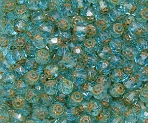 Renaissance Firepolish 6mm : FP6-T6001 - Aquamarine - Picasso - 25 pieces