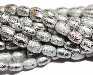 RI46-ETCH-7000FULL - Czech Rice Bead - 4x6mm - Silver Ore Etched Rice - 25 Count