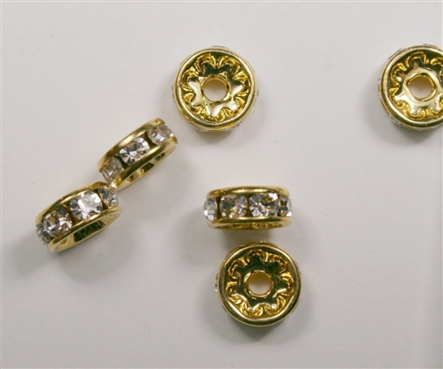 Czech Rhinestone Rhondell - 8mm Gold/Crystal