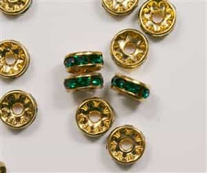 Czech Rhinestone Rhondell - 8mm Gold/Emerald
