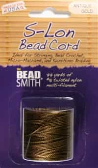 S-Lon Bead Cord - 77 Yard Spool - Antique Gold