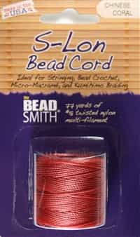 S-Lon Bead Cord - 77 Yard Spool - Chinese Coral