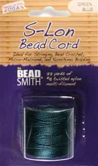 S-Lon Bead Cord - 77 Yard Spool - Green Blue