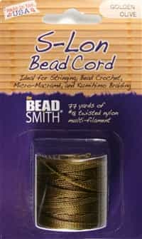 S-Lon Bead Cord - 77 Yard Spool - Golden Olive