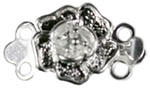 Silver Plated Brass Rose 2 Strand Rose Clasp 9MM