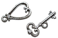 Silver Plated Heart/Key Toggle Clasp 19x12