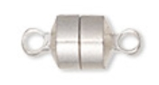 5 - Silver Plated Magnetic Barrel Clasps 8x6x6