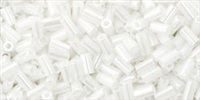 Toho Bugle Beads #1 3mm : TB01-121 - Opaque Lustered White - 10 Grams