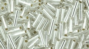 Toho Bugle Beads #2 6mm : TB02-21 - Silver-Lined Crystal - 10 Grams